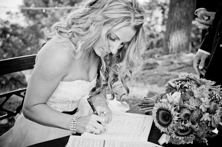 Bride signing